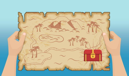 Ancient old pirate treasure map pattern with hands, island map on brown old paper and ancient treasure chest with gold and riches.