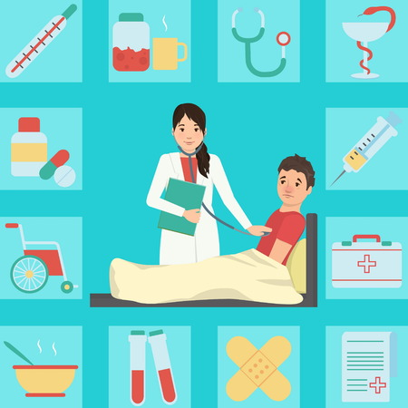 examining: Medical illustration of a lady doctor examining patient with flue and fever who cought cold. Bonus: corresponding icon set. Flat minimalistic style.