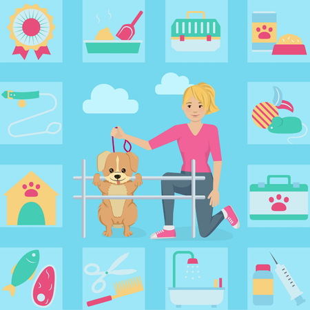 keep in: Woman with her pet dog in the park doing agility activity illustration. Bonus: keep a pet icon set. Flat minimalistic style.