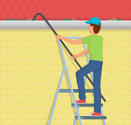telescopic: Flat style illustration of a man on a ladder cleaning the rain gutter of the house with a telescopic device.