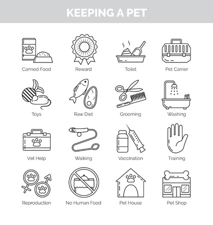good grooming: A set of thin line black icons on white background for various aspects of keeping pets at home. Vet help, vaccination, training, grooming and other