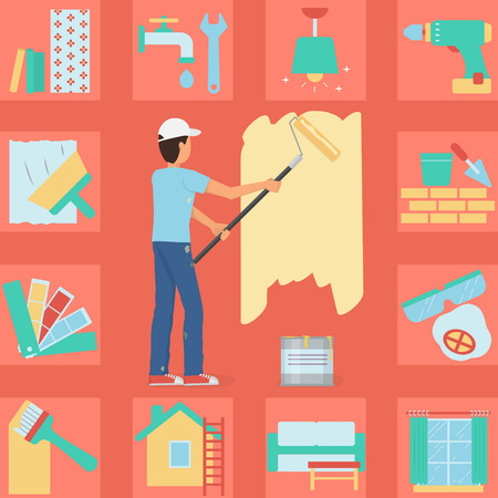 painting on the wall: Illustration of a worker man painting a wall with a roller and paint bucket. Bonus: house repair and decoration icon set. Flat minimalistic style.