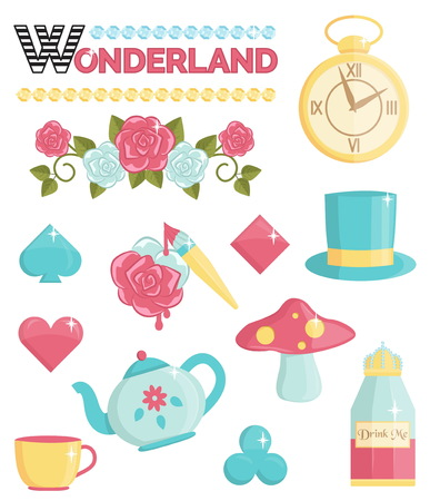 hatter: Cute wonderland magic dream illustrations set. Holiday and event decorations, design elements. Roses, potion, cards and other elements