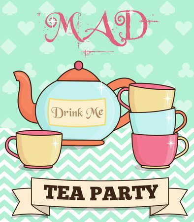 mad: Cute wonderland mad tea party illustration. Teapot and cups on mint background. For party and event invitations and other design projects.