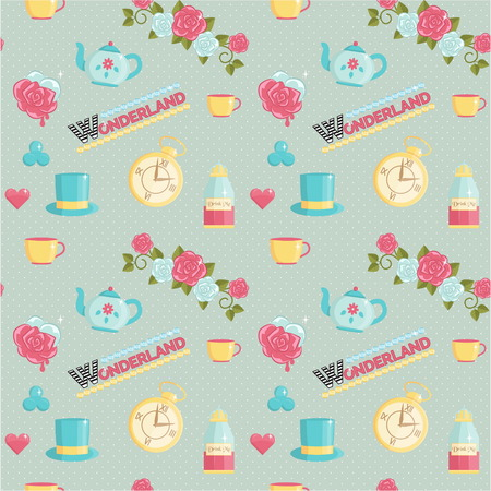 Lovely wonderland themed seamless vector pattern. Roses, playing card elements, teatime set, magic potions on dotted background.