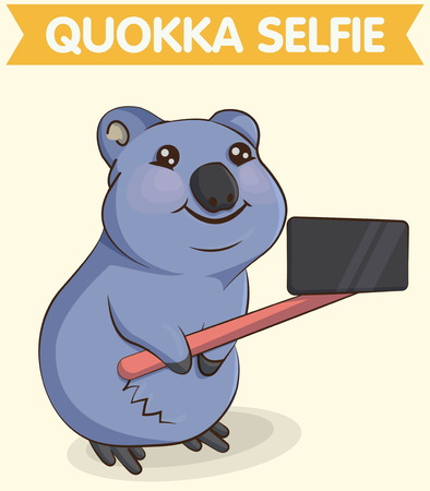Cute cartoon smiling australian quokka animal making selfie photo with a phone and telescopic selfie stick. For mugs, t-shirts and other designs.