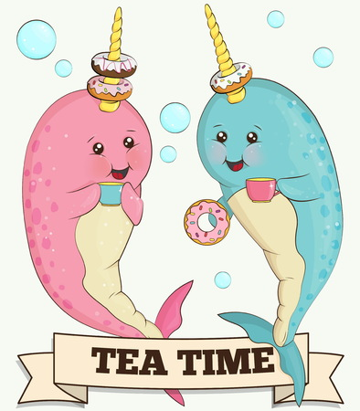 unicorn fish: Sweet illlustration of two cute narwhal unicorn fish animals drinking tea with doughnuts in he ocean surrounded by bubbles.