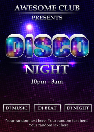 ambience: Vibrant 80s styled disco night party event poster, flyer, banner, brochure template. Luminous font, neon lights and dramatic background.
