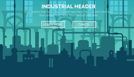 manufacturing plant: Abstract industrial manufacturing plant scene with ambient light, pipes and machinery. Web template for website header or decoration. Illustration