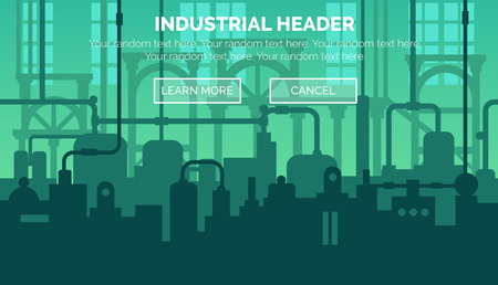 website header: Abstract industrial manufacturing plant scene with ambient light, pipes and machinery. Web template for website header or decoration. Illustration