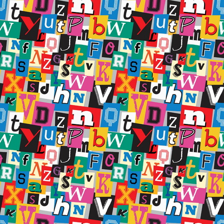 ransom: Vibrant multicoloured kidnapper ransom note seamless pattern. Fun background with letters for decoration, background and print.
