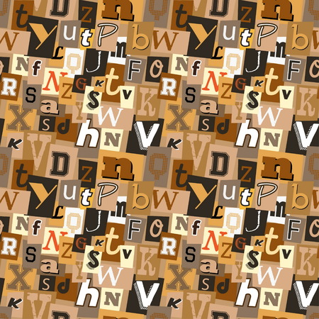 kidnapper: Pastel coffee coloured kidnapper ransom note seamless pattern. Fun background with letters for decoration, background and print. Illustration