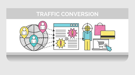 web traffic: Scribble header horizontal banner illustration for web traffic targeting and conversion. Icon illustrations for global network traffic, landing page and a visitor that converted into purchase.