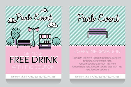 clearence: Trendy minimalisctic icon style outdoor park event themed discount coupon, advertising flyer, gift voucher costomizable template. Replace text, add your logo to customize template.
