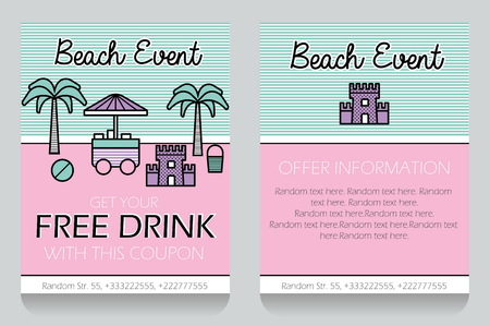 outdoor event: Trendy minimalisctic icon style outdoor beach event themed discount coupon, advertising flyer, gift voucher costomizable template. Replace text, add your logo to customize template.