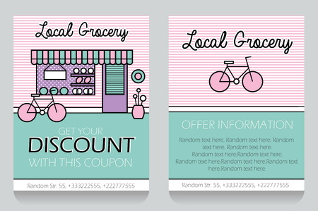 clearence: Trendy minimalisctic icon style local grocery store themed discount coupon, advertising flyer, gift voucher costomizable template. Replace text, add your logo to customize template.