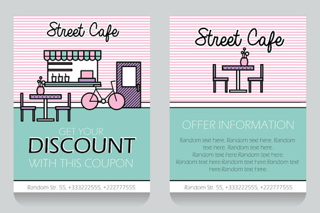 clearence: Trendy minimalisctic icon style small street cafe themed discount coupon, advertising flyer, gift voucher costomizable template. Replace text, add your logo to customize template.