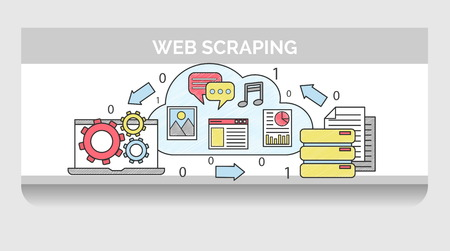 Scribble header horizontal banner illustration for web scraping process sequence. Icon illustrations for global network content, scraping software, data output and re-publishment.