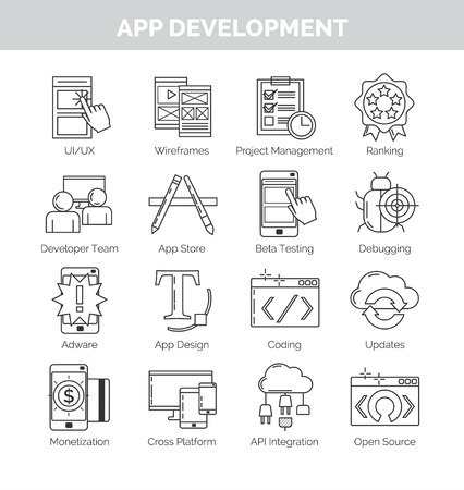 debugging: Thin black line icon set for mobile application development stages and terms. UI and graphic design, project mnagement, soding, beta testing and other.