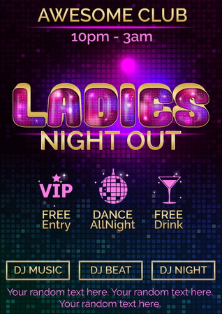 night out: Glowing disco pink and gold advertising poster customisable template for ladies night out.