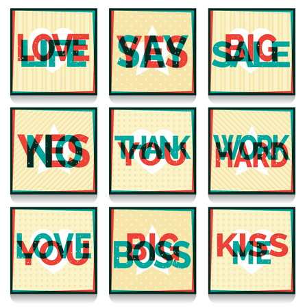 multilayered: A set of retro fun overprint multilayered anaglyph effect cards with conceptual text and symbols. Offset print effect typography on a grungy aged background.