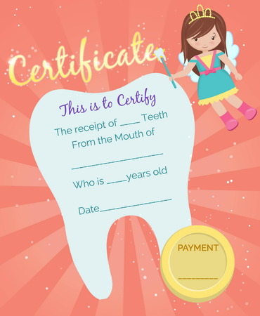 Cute tooth fairy receipt certificate template with sparkling tooth, tooth fairy girl and coin. Reward for children who loose their baby teeth. Illustration
