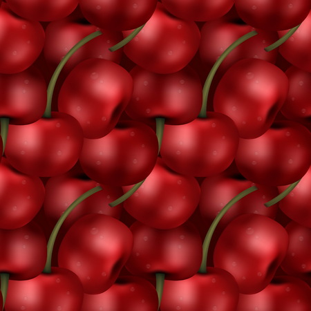 picked: Seamless ripe sweet delicious cherry berries pattern. Tiled effect of a pack of picked up cherries.