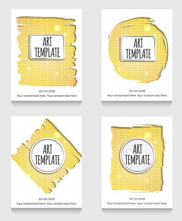 eclectic: Modern eclectic flyer, poster, card template with golden background. Vintage dotted shadows, glamourous shiny golden caged background, minimalistic framing and casual text. Illustration
