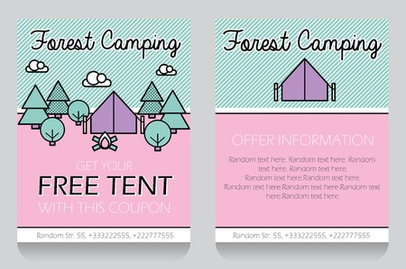 neighbour: Trendy minimalistic icon style outdoor forest camping themed discount coupon, advertising flyer, gift voucher customizable template.