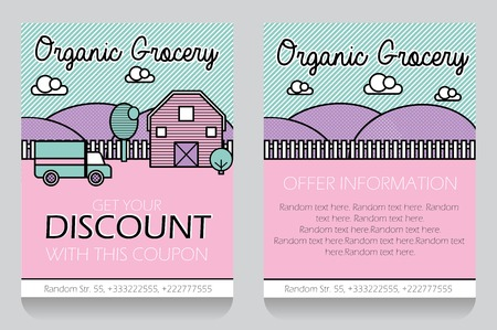 clearence: Trendy minimalisctic icon style local grocery store themed discount coupon, advertising flyer, gift voucher costomizable template.