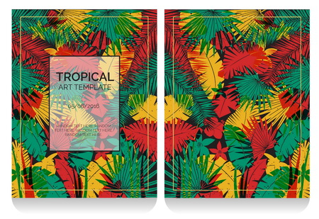 replace: Tropical offset print effect jungle illustration with overlayed plants and flowers making anaglyph effect. Replace text to customize template.