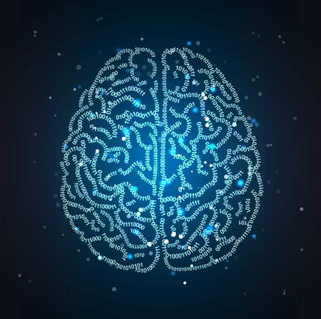Concept illustration of a human brain formed out of binary code digits. Shiny artificial intelligence space hi-tech and IT themed background.