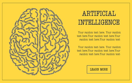 personalize: Concept banner illustration of a human brain formed out of binary code digits. Artificial intelligence hi-tech and IT themed customizable template, replace text to personalize.