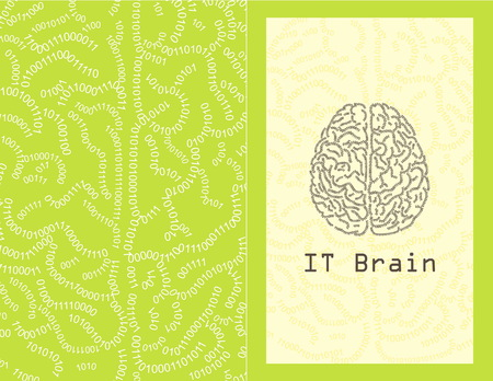 numerical code: Concept greeting card illustration of a human brain formed out of binary code digits. IT brain concept, binary code background, printable template, ready to use. Illustration
