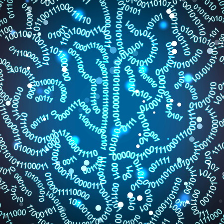 Concept background illustration of a close up human brain formed out of binary code digits. Shiny space hi-tech background with sparkles and numbers.