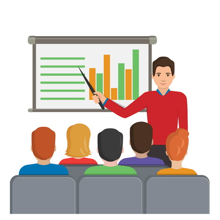 analytical: Flat illustration of a man with a pointer next to the board with analytical data making a report for the audience at the conference meeting, lecture, etc. Illustration