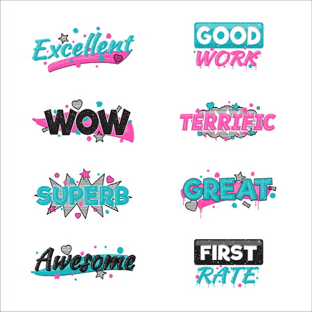 praise: A collection of artistic encouragement achievement badge stickers to praise good work and perfect results. Can be used for educational purposes and just for fun. Illustration