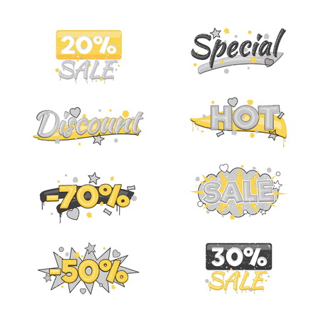 clearence: A collection of artistic sale and discount advertising badge stickers. Design elements to advertise special offer, hot sales and clearance proposals. Illustration