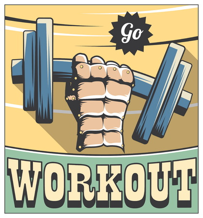 hand with dumbbell: Vintage retro style fitness motivation poster with an iron hand lifting heavy dumbbell and go workout typography. Illustration