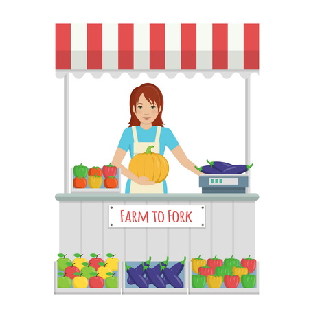 farmer market: Illustration of a young lady in apron working at farmer market stall, selling organic fruit and vegetables from farm to fork, weighting the goods and serving to customers.