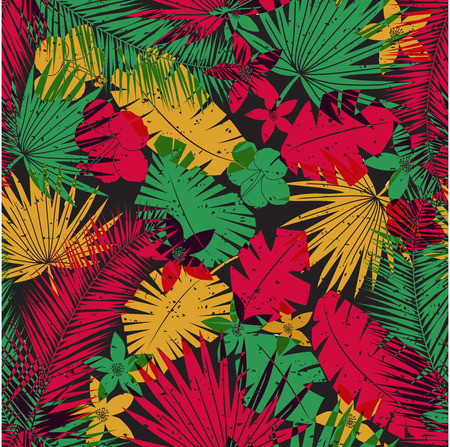 ferns: Seamless tropical jungle pattern with leaves, plants and flowers. Retro offset print effect, color overlay, anaglyph. Hibiscus, ferns and tropical foliage.