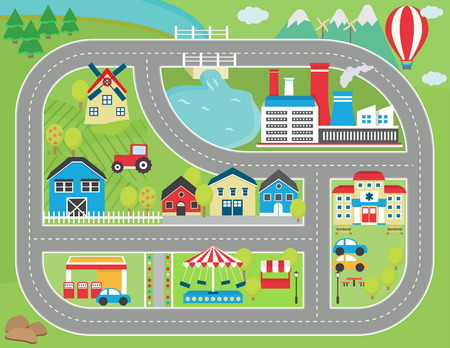 factory farm: Lovely city landscape car track play mat for children activity and entertainment. Sunny city landscape with mountains, farm, factory, buildings, plants and endless car road.