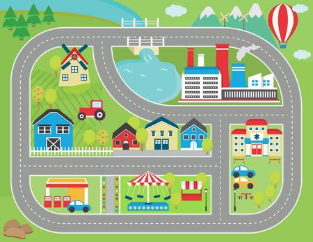 Precioso paisaje de la ciudad alfombra de juego pista de coches para la actividad de los niños y el entretenimiento. Soleado paisaje de la ciudad con las montañas, granja, fábrica, edificios, plantas y camino del coche sin fin.