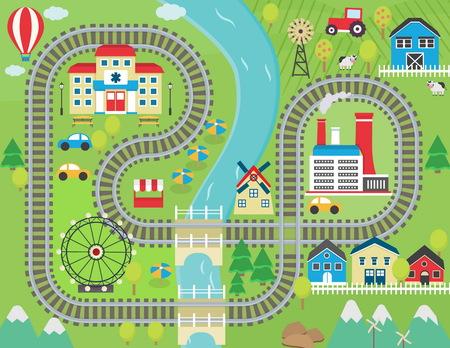 Incantevole il paesaggio della città del gioco binario del treno tappetino per l'attività dei bambini e di intrattenimento. Soleggiato paesaggio della città con le montagne, fattoria, fabbrica, edifici, impianti e rotaie del treno senza fine.