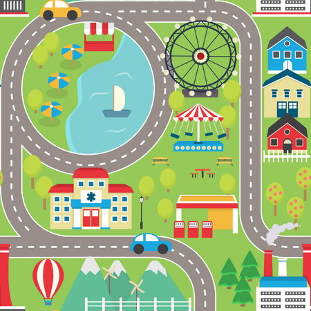 Lovely city landscape car track seamless pattern for play mats, rugs and decoration. Sunny city landscape with mountains, farm, factory, buildings, plants and endless car road.