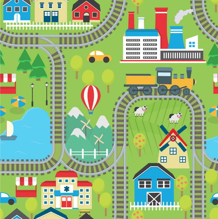 rug map: Lovely city landscape train track seamless pattern for play mats, rugs and decoration. Sunny city landscape with mountains, farm, factory, buildings, plants and endless train rails.