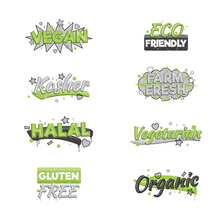 inspected: A collection of artistic food and drink quality badge stickers. Design elements that inform consumers about halal, kosher, vegan, gluten free and other inspected products.