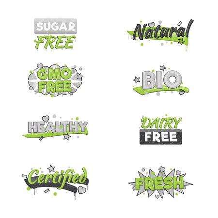 inspected: A collection of artistic food and drink quality badge stickers. Design elements that inform consumers about sugar, dairy and gmo free, fresh, bio and other inspected products. Illustration