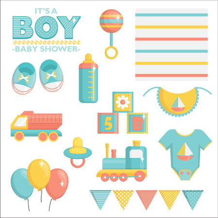 bootees: It is a boy baby shower items collection for party, event decoration. Design elements for cards and invitations. Blue colored baby clothes, toys for boys and other baby goods. Illustration