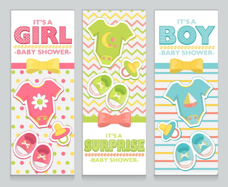 bootees: Baby shower card invitation set for boy, girl and unknown baby. Lovely childish pattern background, baby clothes, booties and soother stickers, bow, ribbon and beds design elements.